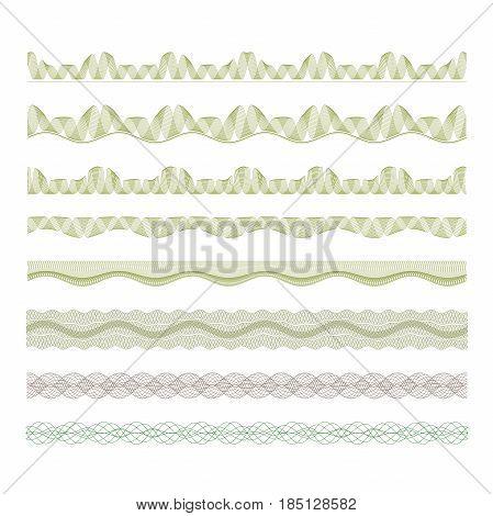 guilloche decorative borders set. Fully editable Illustration vector