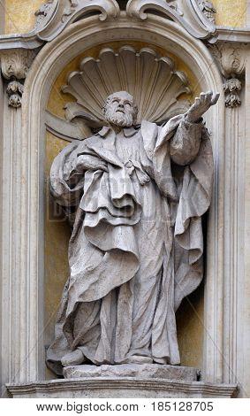 ROME, ITALY - SEPTEMBER 05: Saint Camillus de Lellis, facade of Santa Maria Maddalena Church in Rome, Italy on September 05, 2016.
