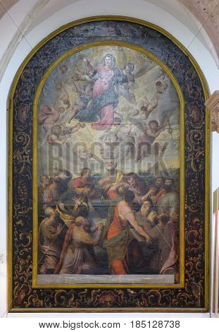 DUBROVNIK, CROATIA - NOVEMBER 08: Assumption of the Virgin Mary by the Italian painter G. B. Bisson from the early 17th century in the convent of the Friars Minor in Dubrovnik, November 08, 2016.