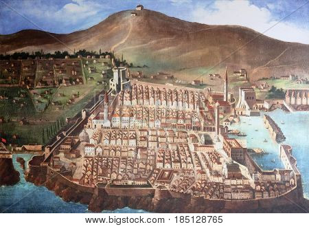 DUBROVNIK, CROATIA - NOVEMBER 08: The city of Dubrovnik in medieval times, painting in the convent of the Friars Minor in Dubrovnik, November 08, 2016.