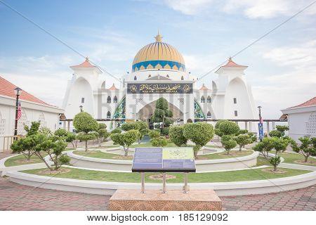 MALACCA, MALAYSIA - AUGUST 12,2016: Melaka Strait Mosque (Masjid Selat) Malacca Malaysia taken during sunset