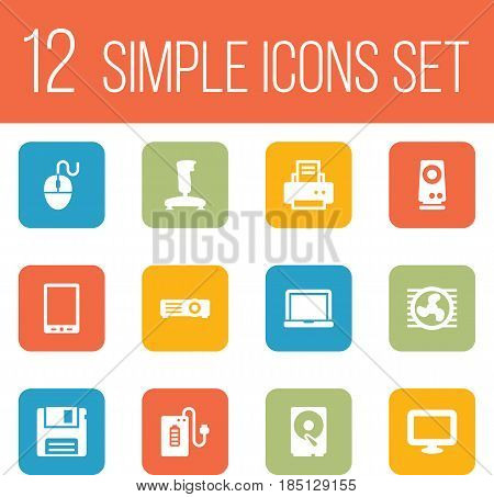 Set Of 12 Computer Icons Set.Collection Of Peripheral, Display, Supply And Other Elements.