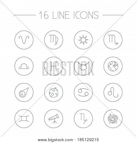 Set Of 16 Astronomy Outline Icons Set.Collection Of Libra, Pisces, Virgo And Other Elements.