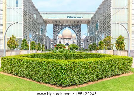 PUTRAJAYA, MALAYSIA - AUGUST 15, 2016: Palace of Justice or the Istana Kehakiman in Putrajaya Malaysia. It is a majestic looking building and houses of the judicial department and court.