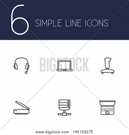 Set Of 6 Laptop Outline Icons Set.Collection Of Notebook, Server, Gamepad And Other Elements.