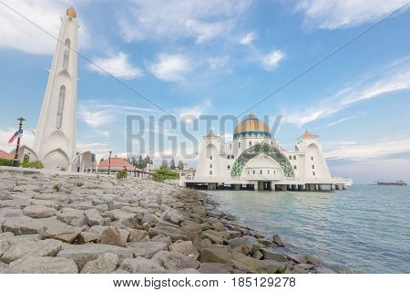 MALACCA, MALAYSIA - AUGUST 12, 2016:Melaka Strait Mosque (Masjid Selat) Malacca Malaysia taken during sunset