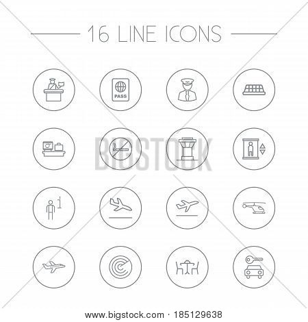 Set Of 16 Land Outline Icons Set.Collection Of Data, Elevator, Car Rent And Other Elements.