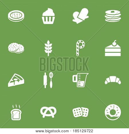 Set Of 16 Bakery Icons Set.Collection Of Wafer, Dessert, Sweetmeat And Other Elements.