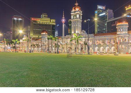 KUALA LUMPUR, MALAYSIA - AUGUST 14, 2016: The Sultan Abdul Samad building is located in front of the Merdeka Square in Jalan Raja Kuala Lumpur Malaysia.