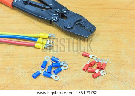 Crimping tool with cable for computer network poster