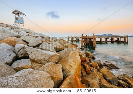 Old harbor and beautiful wooden lighthouse in Khao Laem Ya Mu Ko Samet National Park Rayong Thailand