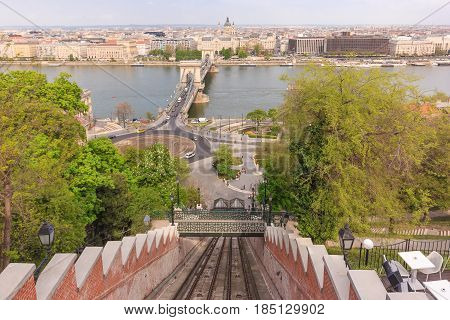 Budapest Castle Hill Funicular to Buda castle in Budapest Hungary