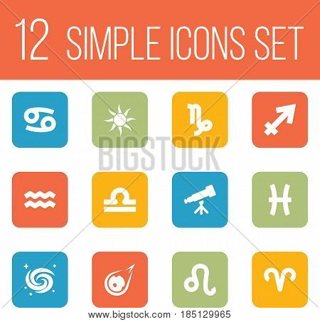 Set Of 12 Horoscope Icons Set.Collection Of Binoculars, Fishes, Comet And Other Elements.