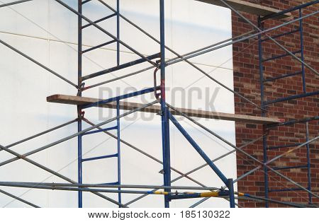 construction wall brick and concrete scaffold renovation structure