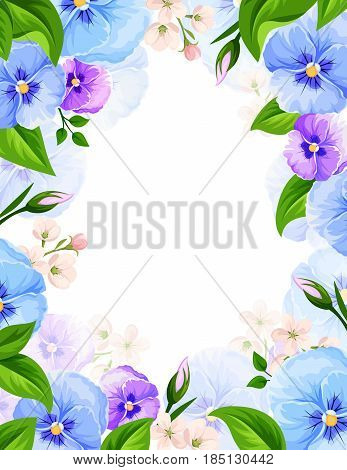Vector background with blue and purple pansy flowers and green leaves.