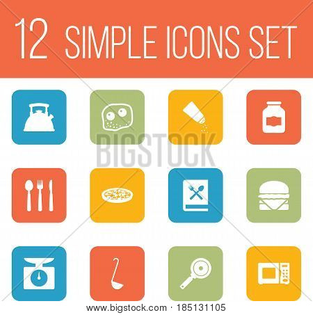 Set Of 12 Culinary Icons Set.Collection Of Cooking Instruction, Weighing Machine, Electronic Oven And Other Elements.
