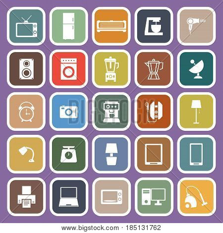 Household flat icons on purple background, stock vector