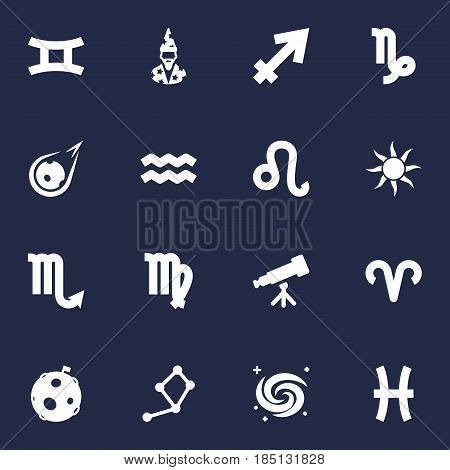 Set Of 16 Astronomy Icons Set.Collection Of Fishes, Virgin, Lion And Other Elements.