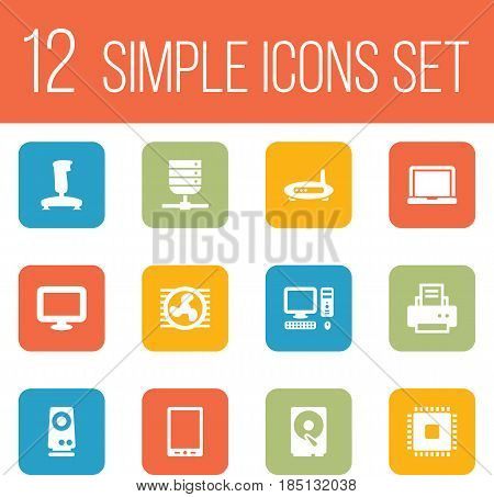 Set Of 12 Laptop Icons Set.Collection Of Router, Peripheral, Fan And Other Elements.