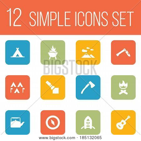 Set Of 12 Adventure Icons Set.Collection Of Jackknife, Acoustic, Wood Axe And Other Elements.