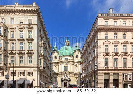 VIENNA, AUSTRIA - APRIL 11, 2016: Peterskirche (Saint Peter Church) is a Baroque Roman Catholic Parish Church in Petersplatz on Graben Street of Vienna City Austria