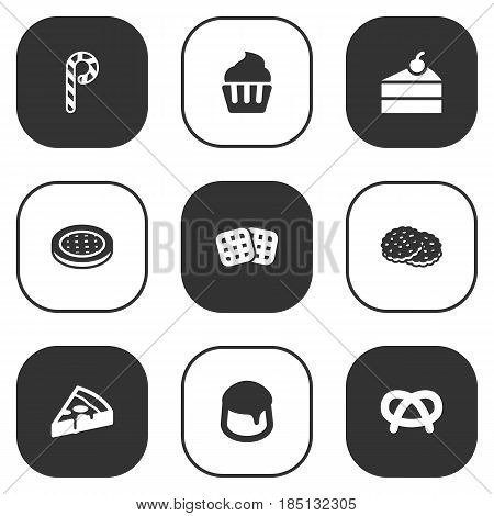 Set Of 9  Icons Set.Collection Of Muffin, Pepperoni, Shortcake And Other Elements.