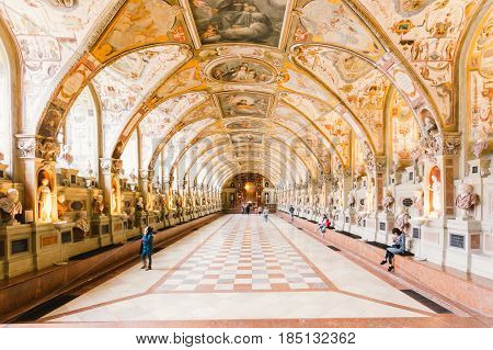 MUNICH GERMANY - APRIL 6: Antiquarium of Munich Residenz in Munich Germany on April 6 2016. Munich is the third largest city in Germany.