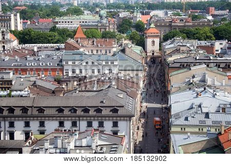 KRAKOW, POLAND - MAY 29, 2016: Aerial view of the northwestern part of the Krakow with old historic Florianska street and medieval Florian gate. View from St Mary's Cathedral.