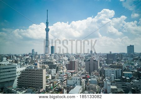 Scenic View Of Tokyo Japan Cityscape  Within Sumida Area.