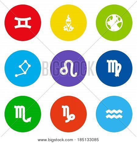 Set Of 9 Astrology Icons Set.Collection Of Goat, Earth Planet, Horoscope And Other Elements.