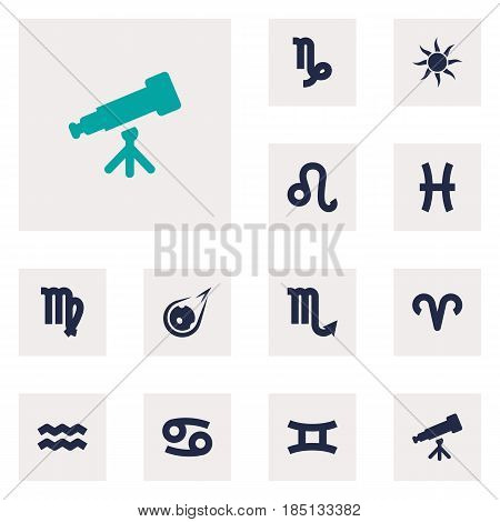 Set Of 12 Galaxy Icons Set.Collection Of Fishes, Zodiac Sign, Binoculars And Other Elements.