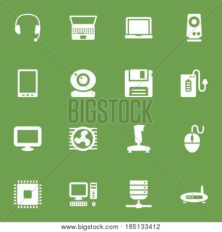 Set Of 16 Computer Icons Set.Collection Of Control Device, Router, Computer And Other Elements.