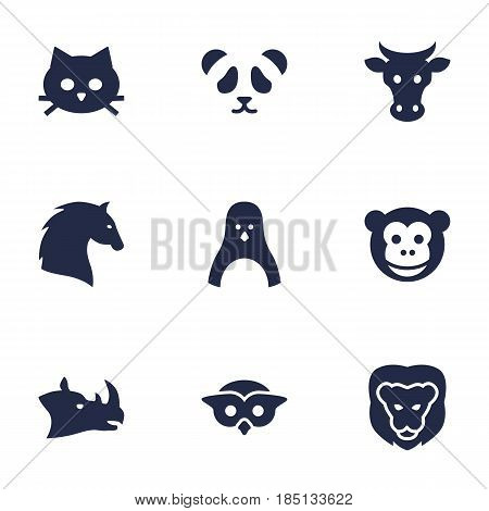 Set Of 9 Brute Icons Set.Collection Of Wildcat, Kine, Night Fowl And Other Elements.