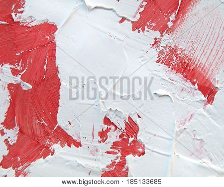Acrylic paint texture with red and white brush strokes for interesting and dynamic backgrounds. Suitable for web design patterns and pages.