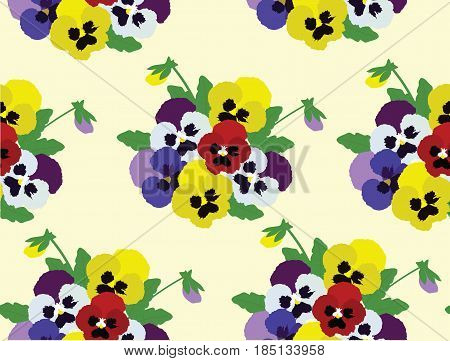vector illustration of pansies flowers seamless background