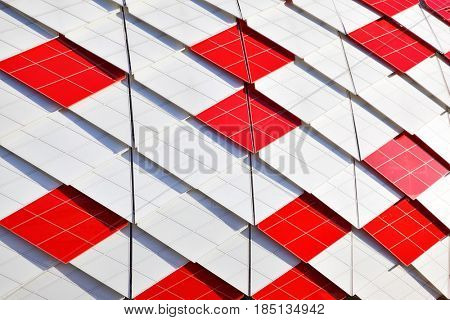 Moscow, Russia - May 03, 2017: Red-white decoration of facade of Otkrytie Arena Stadium (Spartak Stadium) in Moscow