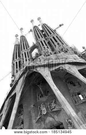 Barcelona, Spain - June 09, 2011: The La Sagrada Familia cathedral by Antoni Gaudi in Barcelona. Black and white image, angle shot