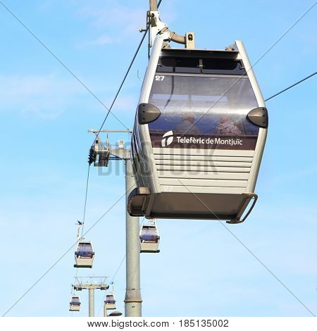Barcelona, Spain - June 11, 2011: The Teleferic ropeway cable car to Montjuic in Barcelona