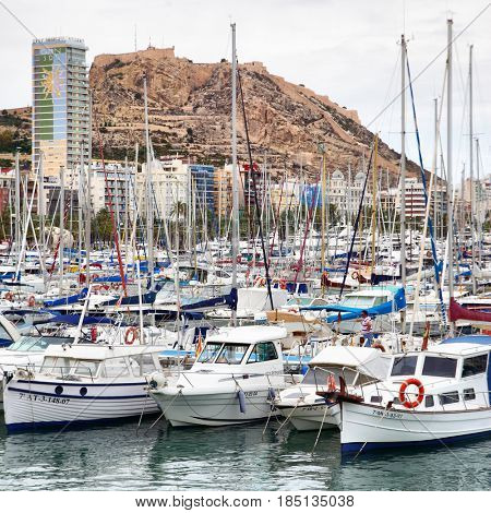 Alicante, Spain - June 01, 2014: Lots yachts and boats in port of Alicante