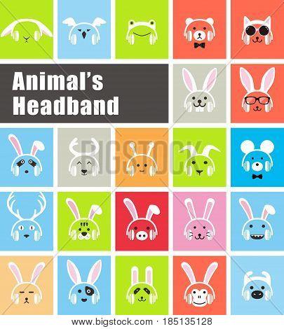 Animals Wear Animal's Headband Flat Icon Design