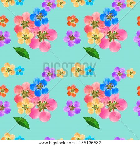Quince apple quince. Texture of flowers. Seamless pattern for continuous replicate. Floral background