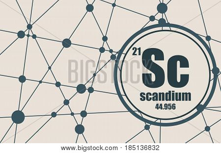Scandium chemical element. Sign with atomic number and atomic weight. Chemical element of periodic table. Molecule And Communication Background. Connected lines with dots.