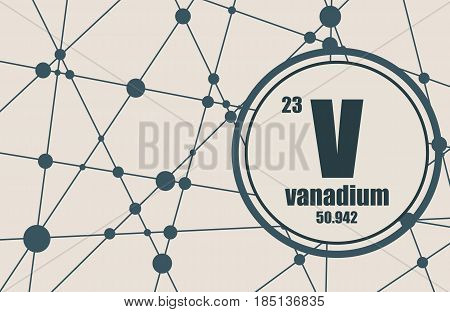 Vanadium chemical element. Sign with atomic number and atomic weight. Chemical element of periodic table. Molecule And Communication Background. Connected lines with dots.