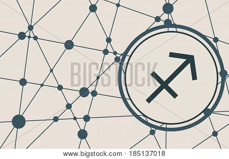 Zodiac symbol in circle. Vector illustration. Molecule And Communication Background. Connected lines with dots. Modern vector brochure, report or cover design template. Sign of the Archer