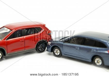 Cars accident crash isolated on white background
