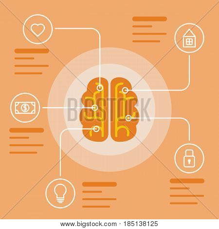 Brain infographic concept. Mind and memory data icons. Vector illustration and background