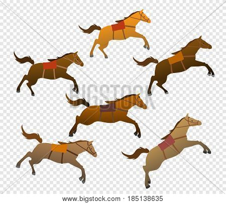 Herd of horses. Set of pets. Isolated images. Flat design. Vector illustration