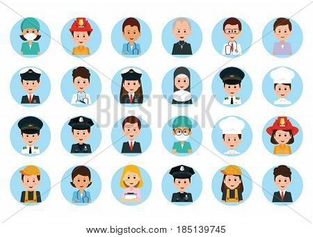 Set of vector man and woman portraits People professions and occupations icon set in flat design cartoon character vector illustration.