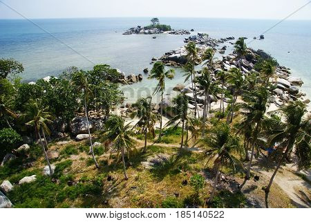 view from the top of lighthouse in lengkuas island, belitung, indonesia