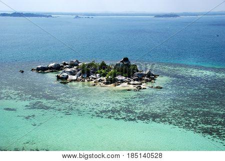 Small tropical rock island in belitung, indonesia